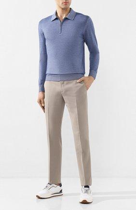 Мужское шерстяное поло  CRUCIANI голубого цвета, арт. CU164B.PZ1F6V | Фото 2