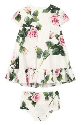 Женский комплект из платья и шорт DOLCE & GABBANA белого цвета, арт. L22DG3/HS5GG | Фото 1