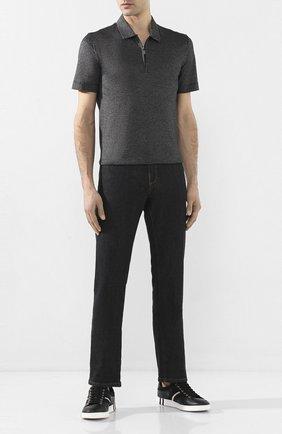 Мужское хлопковое поло CANALI черного цвета, арт. T0569/MJ00884 | Фото 2