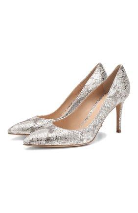 Женская кожаные туфли gianvito 85 GIANVITO ROSSI серебряного цвета, арт. G24580.85RIC.DALARGE | Фото 1