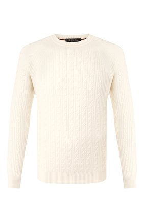 Мужской свитер из смеси шелка и кашемира LORO PIANA белого цвета, арт. FAI9503 | Фото 1