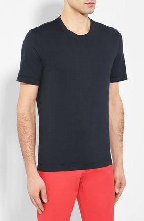 Мужская хлопковая футболка CAPOBIANCO темно-синего цвета, арт. 8M660.AL01. | Фото 3
