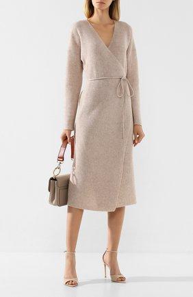Женское платье из смеси шерсти и кашемира VINCE бежевого цвета, арт. V636378367 | Фото 2