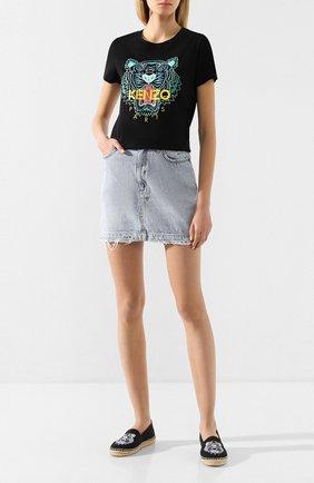 Женская хлопковая футболка KENZO черного цвета, арт. FA52TS7214YB | Фото 2