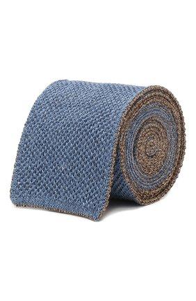 Мужской галстук из смеси шелка и льна CORNELIANI голубого цвета, арт. 85U314-0120391/00 | Фото 1