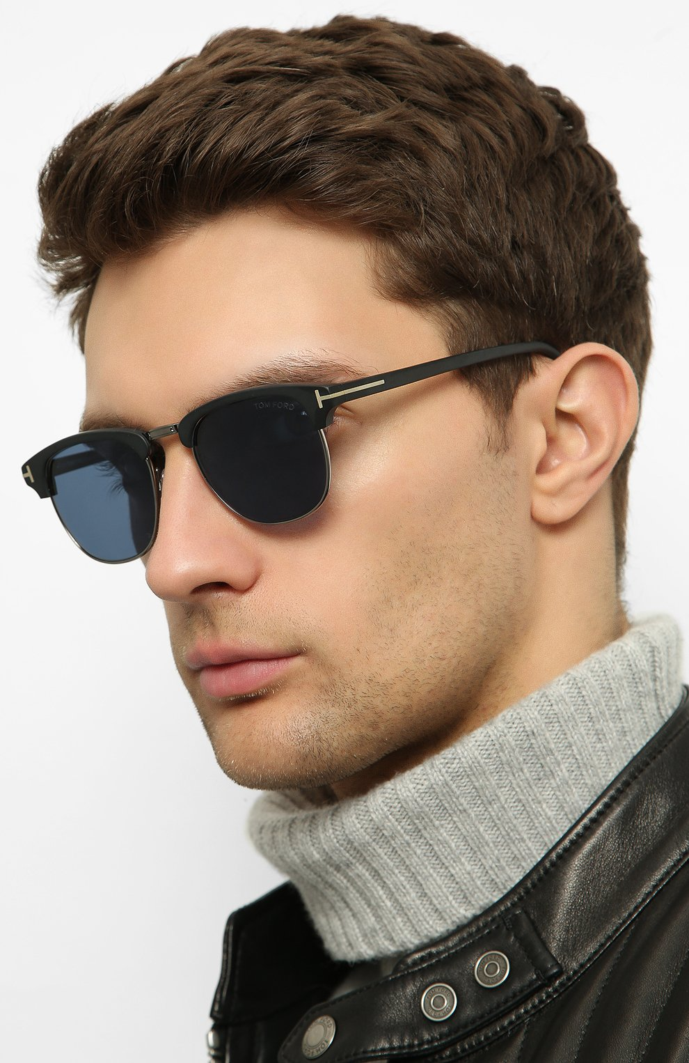 Мужские солнцезащитные очки TOM FORD черного цвета, арт. TF248 02X | Фото 2