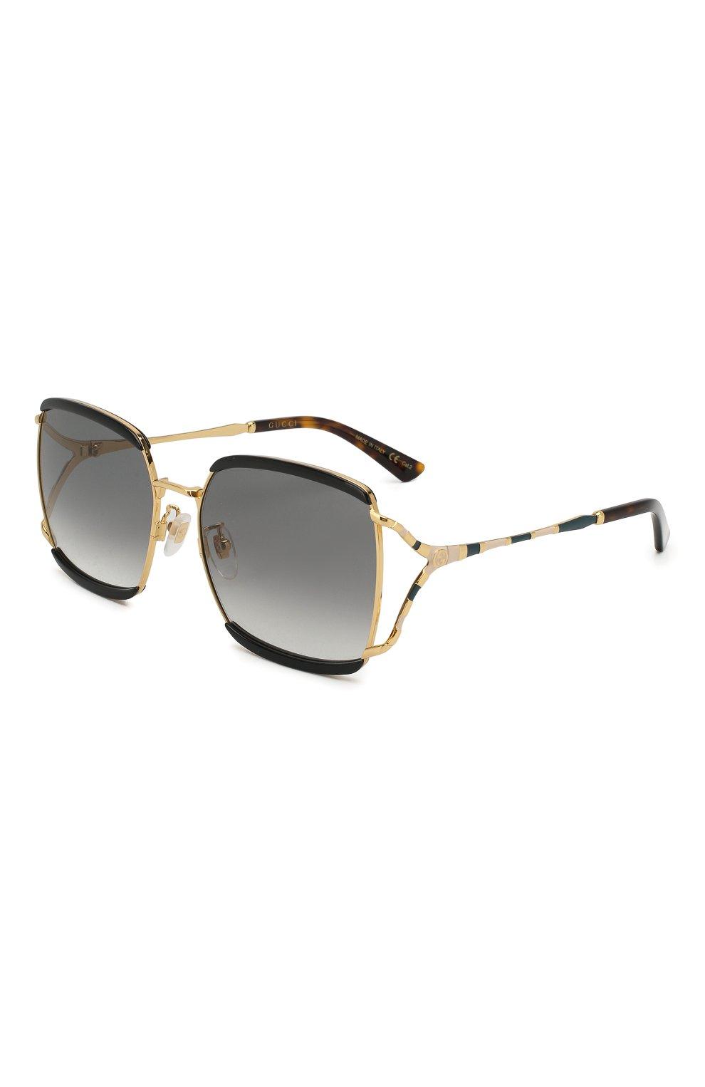 Женские солнцезащитные очки GUCCI черного цвета, арт. GG0593SK 004 | Фото 1