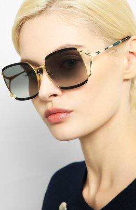 Женские солнцезащитные очки GUCCI черного цвета, арт. GG0593SK 004 | Фото 2