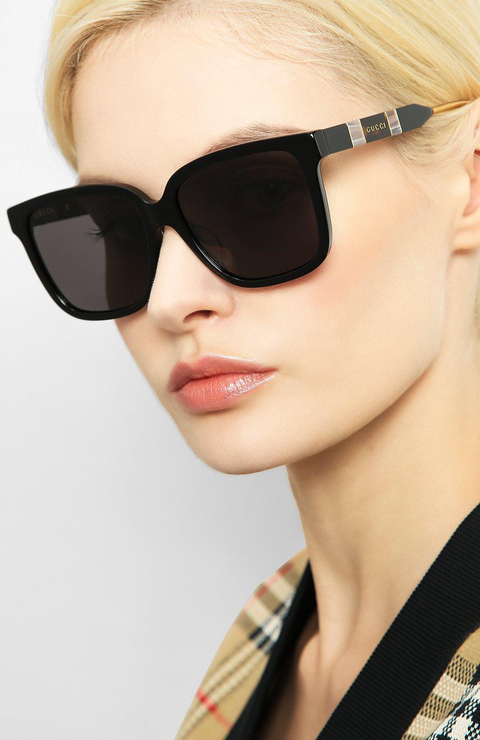 Женские солнцезащитные очки GUCCI черного цвета, арт. GG0599SA 001 | Фото 2