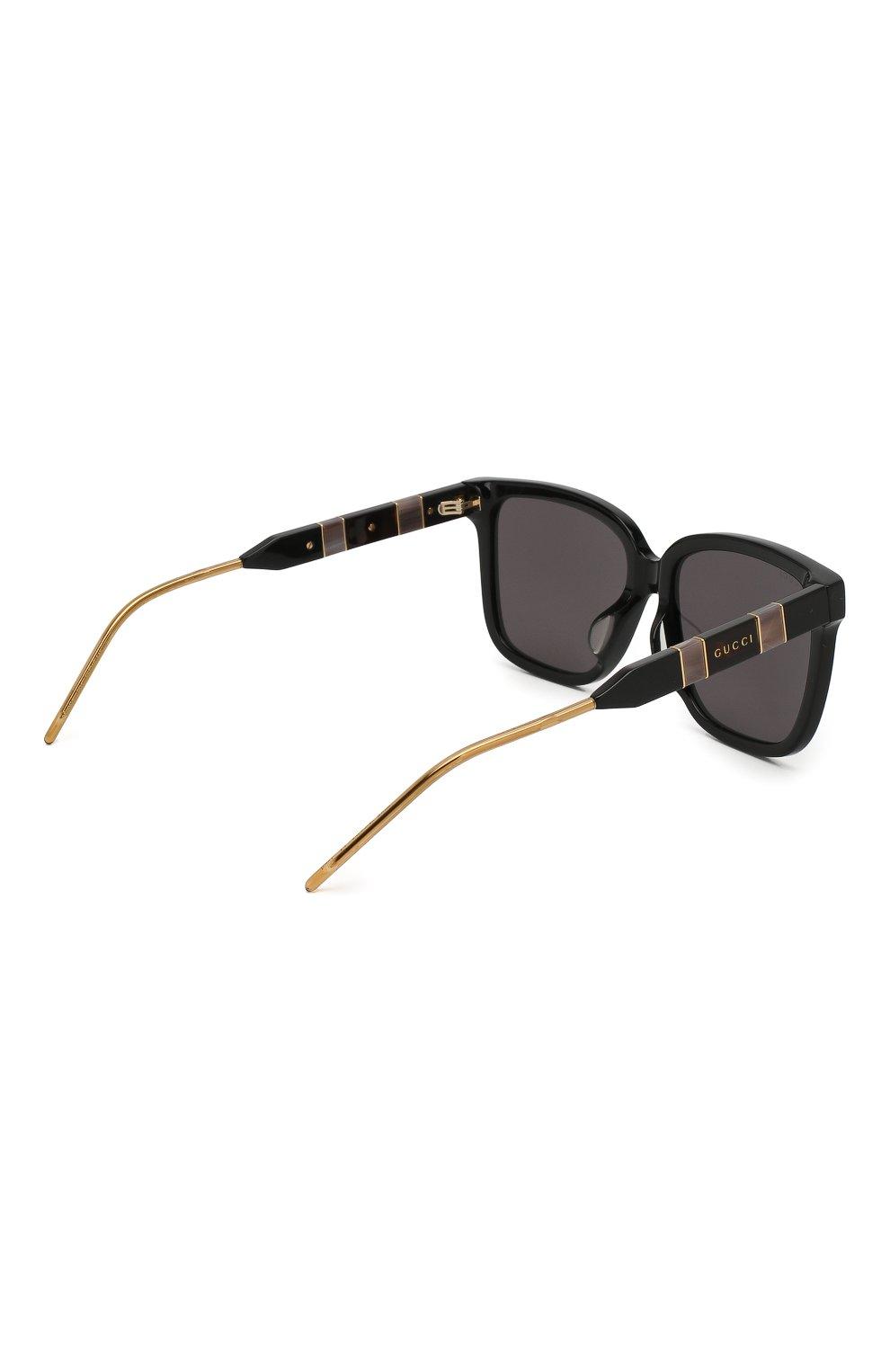 Женские солнцезащитные очки GUCCI черного цвета, арт. GG0599SA 001 | Фото 4