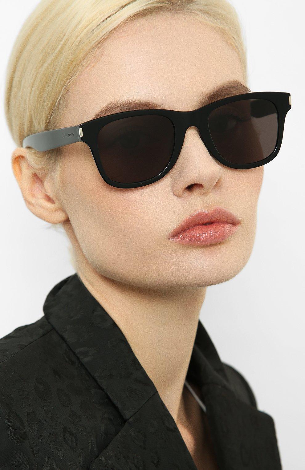 Женские солнцезащитные очки SAINT LAURENT коричневого цвета, арт. SL 51-B SLIM 001   Фото 2