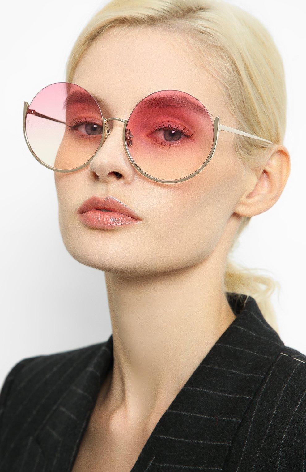 Женские солнцезащитные очки LINDA FARROW розового цвета, арт. LFL1006C4 SUN | Фото 2