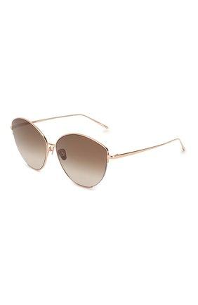 Женские солнцезащитные очки LINDA FARROW золотого цвета, арт. LFL1008C5 SUN   Фото 1