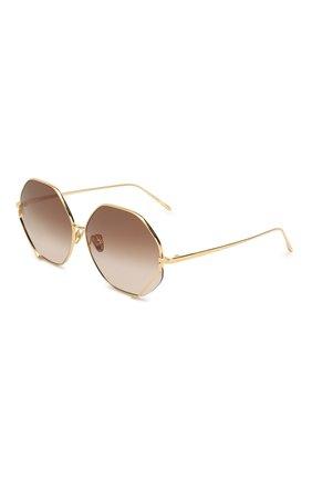 Женские солнцезащитные очки LINDA FARROW золотого цвета, арт. LFL1010C1 SUN   Фото 1