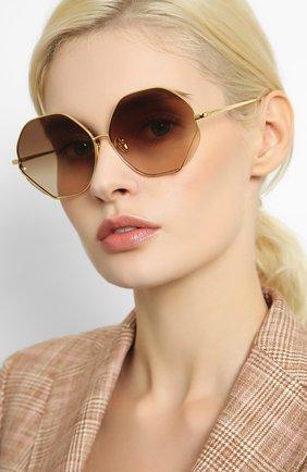 Женские солнцезащитные очки LINDA FARROW золотого цвета, арт. LFL1010C1 SUN   Фото 2