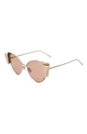 Женские солнцезащитные очки LINDA FARROW золотого цвета, арт. LFL843C3 SUN   Фото 1