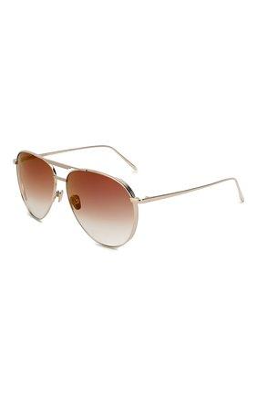 Женские солнцезащитные очки LINDA FARROW золотого цвета, арт. LFL999C3 SUN   Фото 1