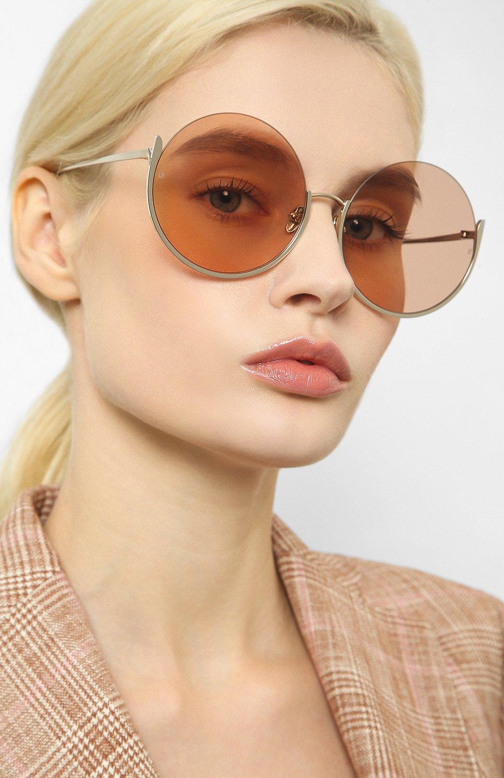 Женские солнцезащитные очки LINDA FARROW золотого цвета, арт. LFL1006C5 SUN | Фото 2