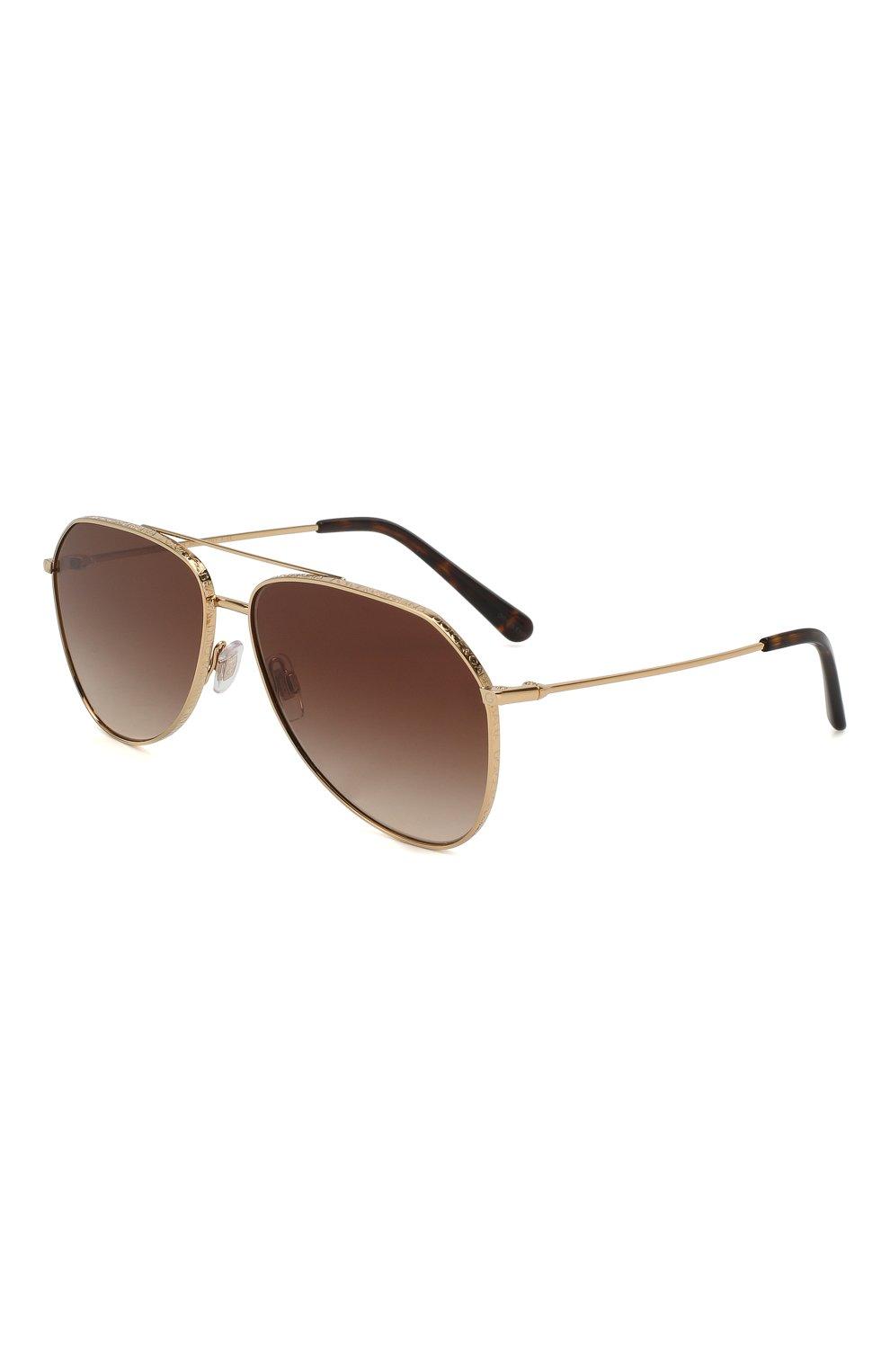 Женские солнцезащитные очки DOLCE & GABBANA золотого цвета, арт. 2244-02/13   Фото 1