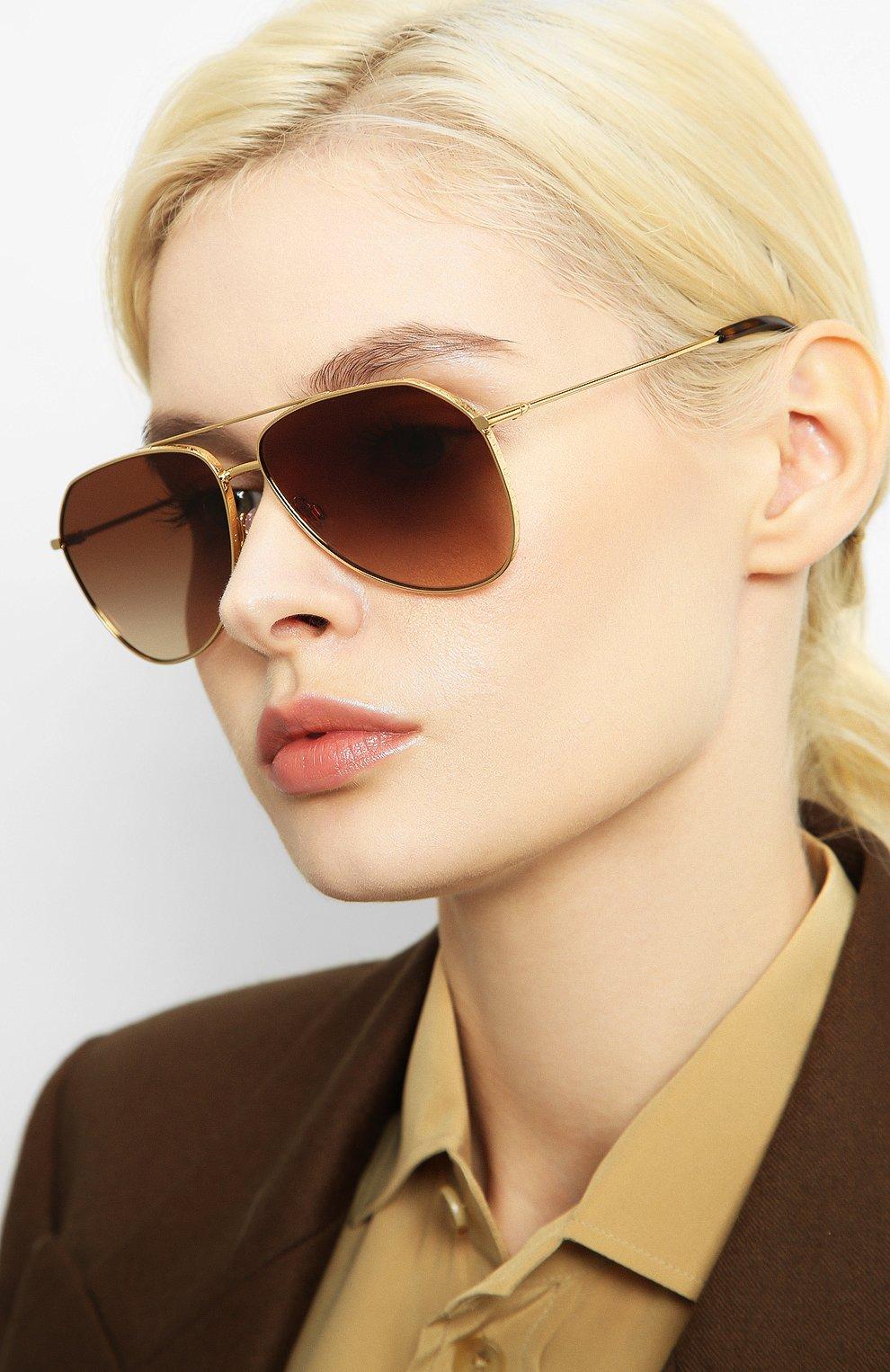 Женские солнцезащитные очки DOLCE & GABBANA золотого цвета, арт. 2244-02/13   Фото 2