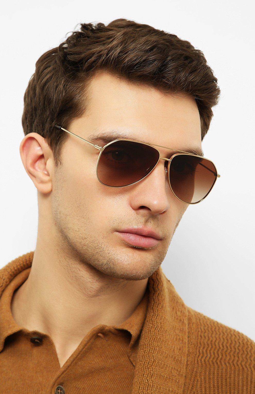 Женские солнцезащитные очки DOLCE & GABBANA золотого цвета, арт. 2244-02/13   Фото 3