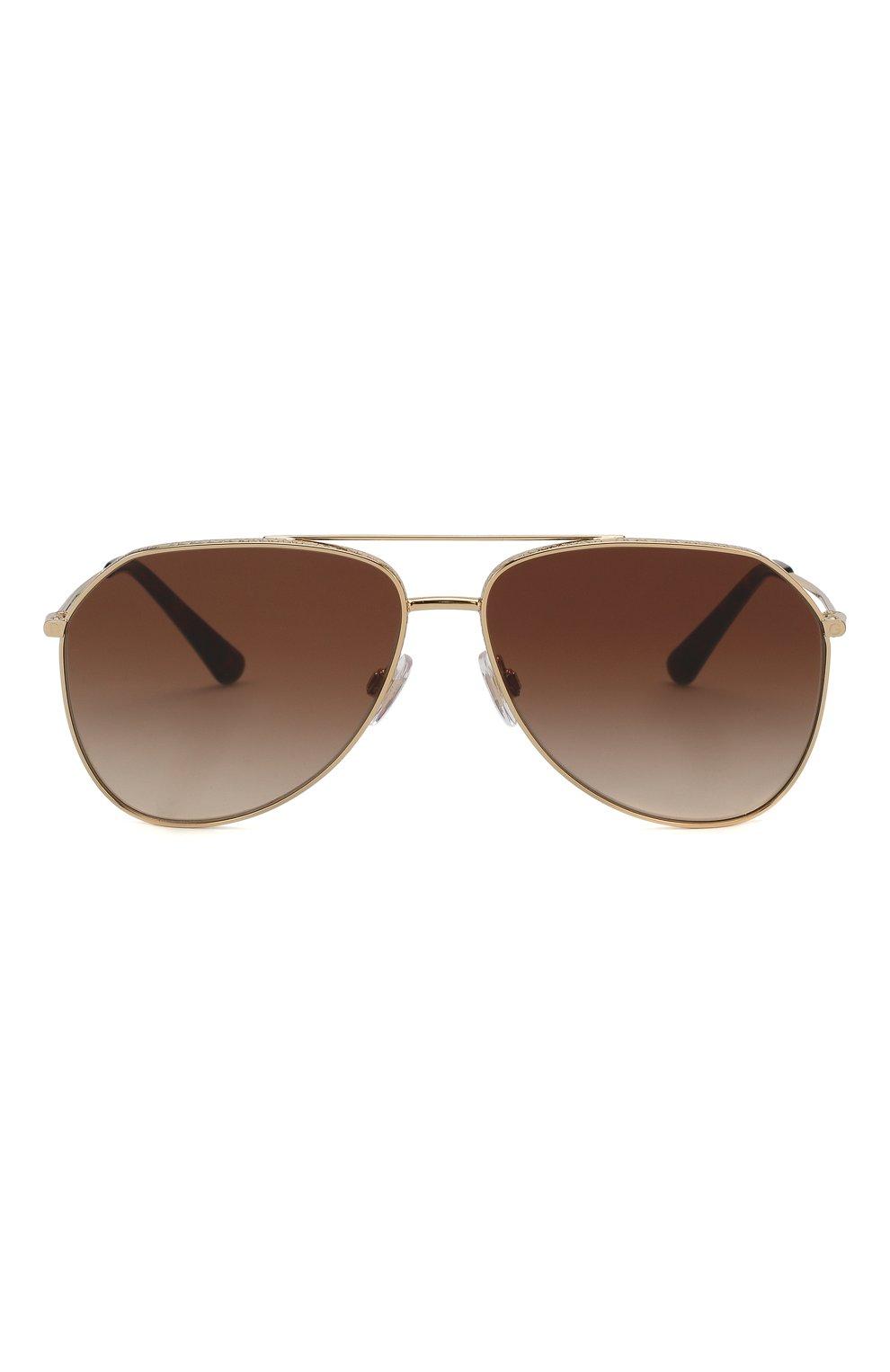 Женские солнцезащитные очки DOLCE & GABBANA золотого цвета, арт. 2244-02/13 | Фото 4