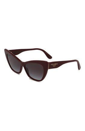 Женские солнцезащитные очки DOLCE & GABBANA бордового цвета, арт. 4370-30918G | Фото 1 (Статус проверки: Проверена категория; Тип очков: С/з; Очки форма: Cat-eye; Оптика Гендер: оптика-женское)