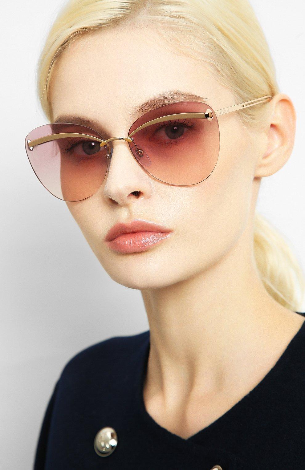 Женские солнцезащитные очки BVLGARI розового цвета, арт. 6130-20142E   Фото 2