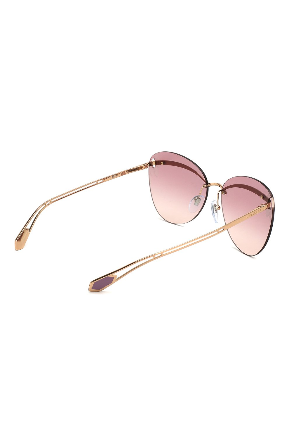 Женские солнцезащитные очки BVLGARI розового цвета, арт. 6130-20142E   Фото 4