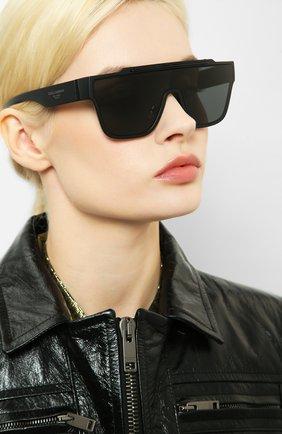 Женские солнцезащитные очки DOLCE & GABBANA черного цвета, арт. 6125-252587 | Фото 2 (Статус проверки: Проверена категория; Тип очков: С/з; Очки форма: Маска, D-форма; Оптика Гендер: оптика-унисекс)