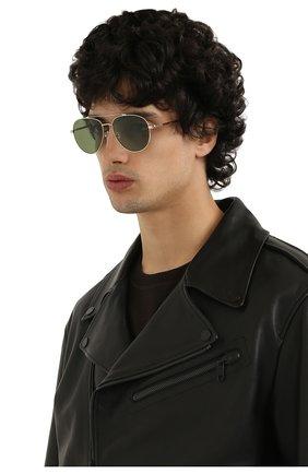 Мужские солнцезащитные очки LORO PIANA светло-зеленого цвета, арт. FAI4926 | Фото 2 (Статус проверки: Проверена категория; Тип очков: С/з; Оптика Гендер: оптика-мужское; Очки форма: Авиаторы)