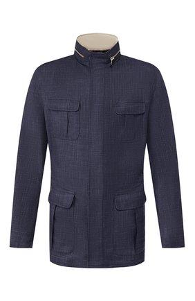 Мужская куртка из смеси шерсти и льна KITON темно-синего цвета, арт. UW0661V07S76 | Фото 1