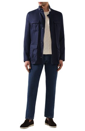 Мужская куртка из смеси шерсти и льна KITON темно-синего цвета, арт. UW0661V07S76 | Фото 2