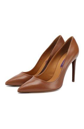 Женские кожаные туфли celia RALPH LAUREN коричневого цвета, арт. 800771972 | Фото 1