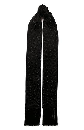 Мужской шелковый шарф SAINT LAURENT черного цвета, арт. 605099/4Y011 | Фото 1