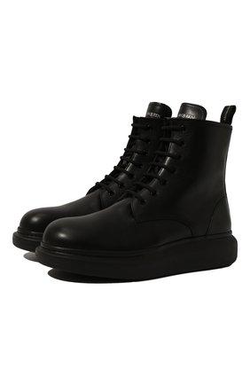 Мужские кожаные ботинки ALEXANDER MCQUEEN черного цвета, арт. 604235/WHXE2 | Фото 1