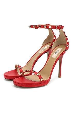 Женские кожаные босоножки valentino garavani rockstud VALENTINO красного цвета, арт. TW2S0T07/VBP | Фото 1