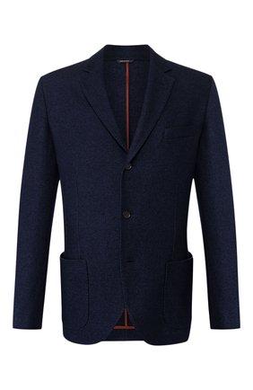 Мужской пиджак из смеси шелка и кашемира LORO PIANA темно-синего цвета, арт. FAI2572 | Фото 1