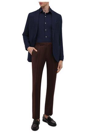 Мужской пиджак из смеси шелка и кашемира LORO PIANA темно-синего цвета, арт. FAI2572 | Фото 2