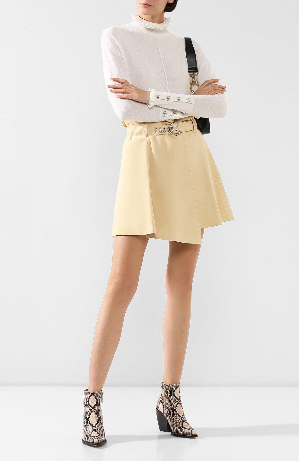 Женская кожаная юбка CHLOÉ бежевого цвета, арт. CHC20SCJ15201 | Фото 2