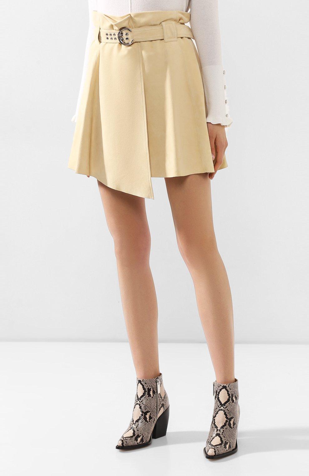 Женская кожаная юбка CHLOÉ бежевого цвета, арт. CHC20SCJ15201 | Фото 3