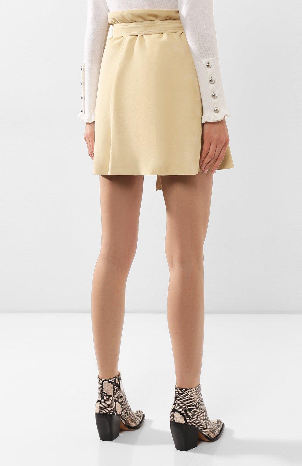 Женская кожаная юбка CHLOÉ бежевого цвета, арт. CHC20SCJ15201 | Фото 4