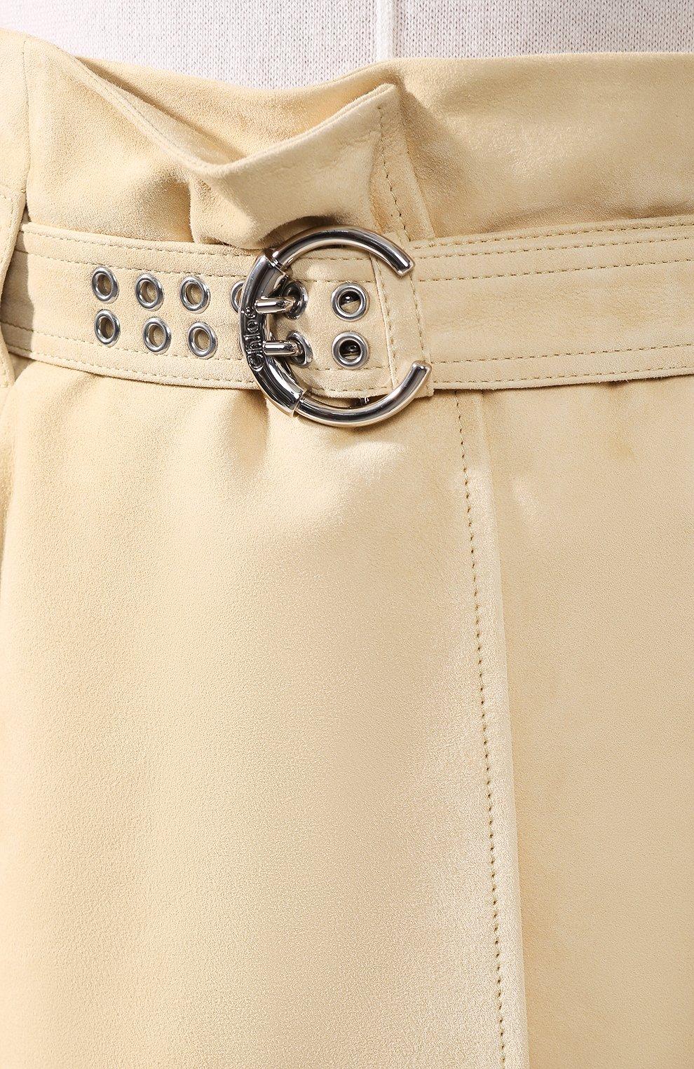 Женская кожаная юбка CHLOÉ бежевого цвета, арт. CHC20SCJ15201 | Фото 5