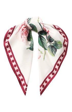 Женский шелковый платок DOLCE & GABBANA белого цвета, арт. FN092R/GDS16 | Фото 1