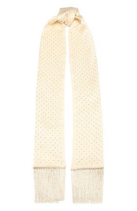 Мужской шелковый шарф SAINT LAURENT белого цвета, арт. 605099/4Y011 | Фото 1