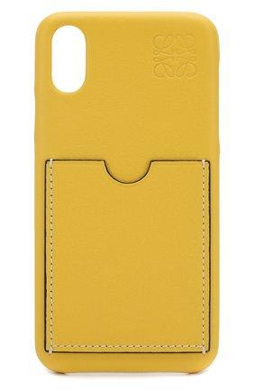 Мужской кожаный чехол для iphone x/xs LOEWE желтого цвета, арт. 103.30AB07   Фото 1