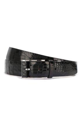 Мужской ремень из кожи крокодила ZILLI черного цвета, арт. MJL-CLAQE-01011/0068/130-140/AMIS | Фото 1
