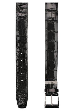Мужской ремень из кожи крокодила ZILLI черного цвета, арт. MJL-CLAQE-01011/0068/130-140/AMIS | Фото 2