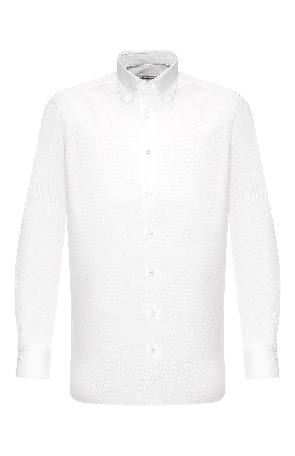 Мужская хлопковая сорочка ZILLI белого цвета, арт. MFT-MERCU-13015/RZ01   Фото 1