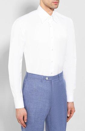 Мужская хлопковая сорочка ZILLI белого цвета, арт. MFT-MERCU-13015/RZ01   Фото 3